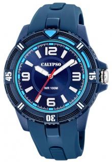 Calypso Herrenarmbanduhr analoge Quarzuhr aus Kunststoff mit linksdrehbarer Lünette blau K5759/2