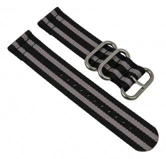 Uhrenarmband Textil Band schwarz/grau mit silberfarbenen Metallschlaufen Minott 28238S