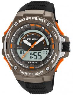 Calypso Digital Armbanduhr PU-Band schwarz Kunststoff Quarzwerk Analog Digitaluhr K5768/2 K5768
