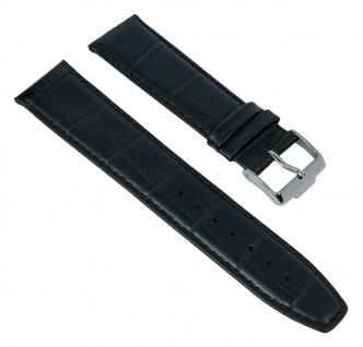 Uhrenarmband Ersatzband Leder schwarz in Kroko-Optik passend zu Jacques Lemans London JL 1-1619