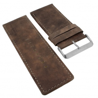 Bruno Banani Ersatzband 37mm in braun glatt aus Leder mit Logo Band mit Dornschließe => EN3