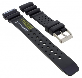 Taucherband Diver Uhrenarmband Kunststoff Band 20mm schwarz 23014S