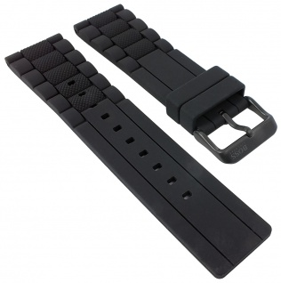 Hugo Boss | Uhrenarmband Silikon Band schwarz mit Struktur 24mm Modell 1513004 30106B