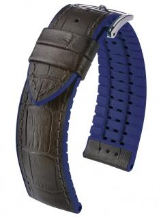 HIRSCH Performance | Uhrenarmband aus Leder/Kautschuk schwarz/blau Allogatorprägung 30959S