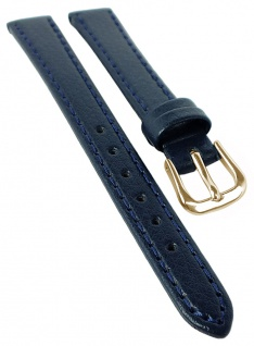 Uhrenarmband | aus Rindleder, flaches Band, genarbt | blau mit Naht | 35093