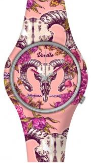 DOODLE WATCH ? Armbanduhr für SIE Ø 39mm   Silikon, rosa/bunt > Widder-Schädel > DOAR003