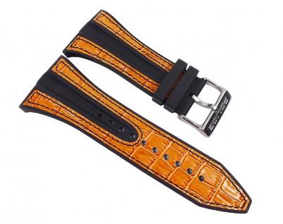 Police Axis Uhrenarmband Leder Band schwarz/Orange für PL10971JS-17