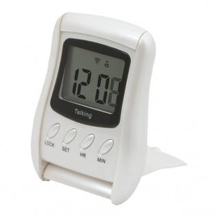 Atlanta Talking Clock Sprechender Wecker Alarm Reisewecker Digital Kunststoff silbern 34726