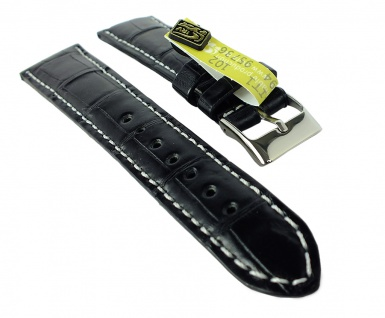 Herzog Kroko-Sport Ersatzband 20mm Uhrenarmband Leder schwarz Krokoleder Band