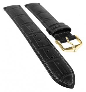 HIRSCH DUKE M | Uhrenarmband italienisches Leder / Alligatorprägung / Schwarz / Kurze Länge 31031