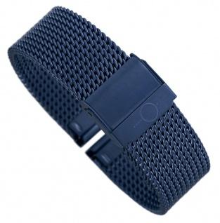 Minott Milanaise | Uhrenarmband Edelstahl Band blau mit verstellbarem Verschluss 30685