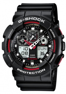 Casio G-Shock digitale Herrenuhr schwarz Resin Weltzeitfunktion GA-100GBX-1A4ER