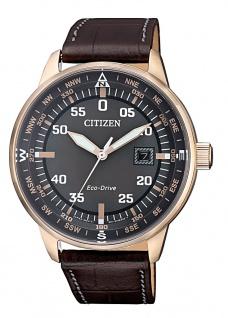 Citizen Eco-Drive Herren Solaruhr Lederband Krokoprägung  10 bar > BM7393-16H