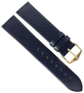 HIRSCH | Uhrenarmband > Leder, blau ohne Naht, genarbt > Dornschließe | Standard-Länge | 36537