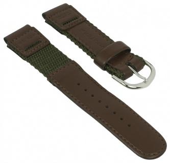 Uhrenarmband für Casio IllumiOutdoorr W-94 Textil/Leder Mix grün/braun
