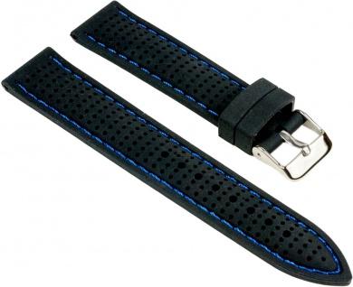 Minott Uhrenarmband Silikon Band schwarz gelocht mit blauen Ziernaht 25530S