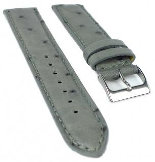 Herzog Ersatzband 19mm Uhrenarmband grau Straußleder Naht Band gepolstert Dornschließe
