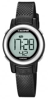 Calypso Kinderarmbanduhr Quarzuhr Digital Kunststoff schwarz mit Stoppfunktion Alarm Licht K5736/3