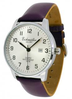 Eichmüller Armbanduhr Lederband lila Herrenuhr Analog Quarz 3ATM Datum