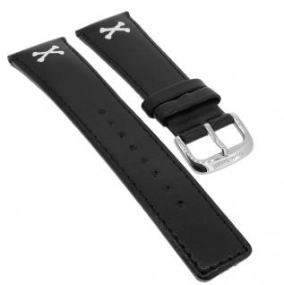 Bruno Banani Ersatzband 25mm in schwarz aus Leder mit Naht mit Schließe silberfarben IN4