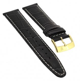 Festina Ersatzband 21mm Uhrenarmband Leder schwarz Krokoprägung glänzend Kontrastnaht F16452