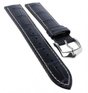 HIRSCH Performance | Uhrenarmband aus Leder/Kautschuk schwarz/blau Alligatorprägung 30992S