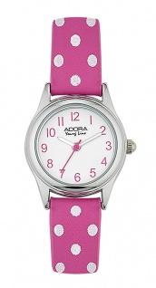 Adora Young Line   analoge Quarz Armbanduhr für Mädchen   PU-Band pink / weiße dots   36166