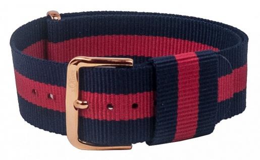 s.Oliver Nato-Band Uhrenarmband Durchzugsband Textil Band mit Metallschlaufen 20mm blau/rot SO-3106-LQ