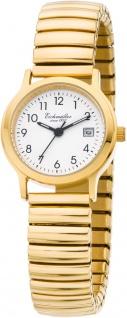 Eichmüller Damenuhr | Armbanduhr Analoguhr Quarzuhr Edelstahluhr gelbgoldfarben mit flexiblem Zugband 30001