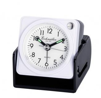 Wecker Reisewecker Alarm Analog Snooze Kunststoff weiß eckig mit Schutzkappe