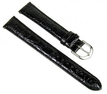 Uhrenarmband Ersatzband Leder Band Schwarz glänzend 23252S
