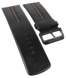 Bruno Banani XT-Square Ersatzband aus Leder in schwarz mit orangener Naht X74 920 320