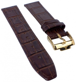Jacques Lemans Rome Uhrenarmband 18mm Leder Band in Kroko-Optik braun für 1-1840