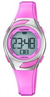 Calypso Kinderarmbanduhr Quarz Digital Kunststoff rosa mit Licht Alarm Stoppfunktion K5738/2