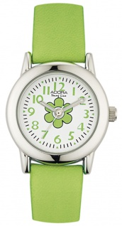 Adora Young Line analoge Quarz Armbanduhr aus Edelstahl mit grün Kunststoffband