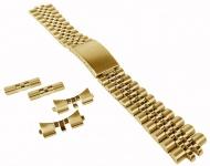 Minott Edelstahlband 20mm   goldfarben u.a. passend für RLX Jubilee   Massiv mit Faltschließe 34198