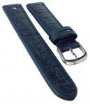 Junghans Ersatzband Uhrenarmband 21mm Leder blau mit Emblem mit Krokoprägung 030/4962