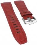 Jacques Lemans Miami | Ersatzband Uhrenarmband Leder Band rot mit Krokoprägung für JL 1-1776J