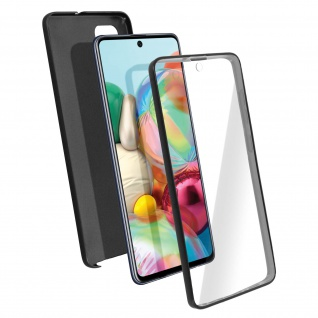 Schutzhülle für Samsung Galaxy A71, Vorder- + Rückseite ? Schwarz