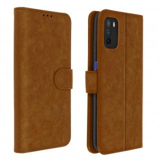 Flip Cover Geldbörse, Etui Kunstleder für Xiaomi Poco M3 ? Braun