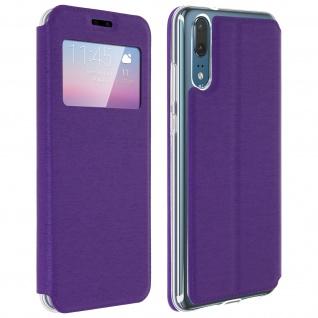 Huawei P20 Flip Cover Sichtfenster & Kartenfach Violett, Silikon - Standfunktion
