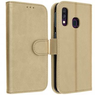 Flip Cover Geldbörse, Klappetui Kunstleder für Samsung Galaxy A40 - Gold