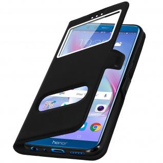 Honor 9 Lite Flip Cover mit Doppelfenster & Standfunktion - Schwarz