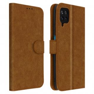 Flip Cover Geldbörse, Etui Kunstleder für Samsung Galaxy A12 ? Braun