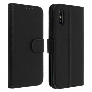 Flip Cover Geldbörse, Etui Kunstleder für Xiaomi Redmi 9A ? Schwarz