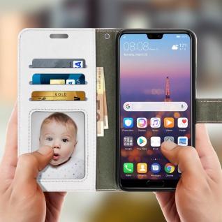 Flip Cover Stand Case Brieftasche & Standfunktion für Huawei P20 - Weiß - Vorschau 2