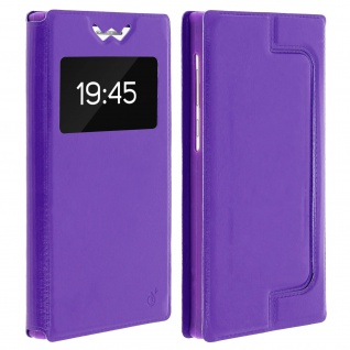 Universal Klappetui, Hülle mit Sichtfenster für Smartphones Größe XS - Violett