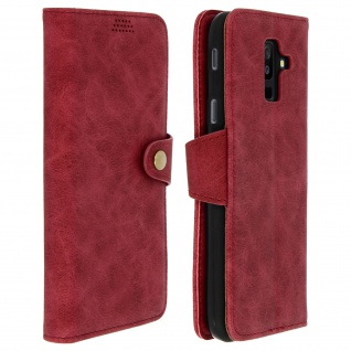 Retrohülle, Flip wallet Cover mit Standfunktion Samsung Galaxy A6 Plus - Rot