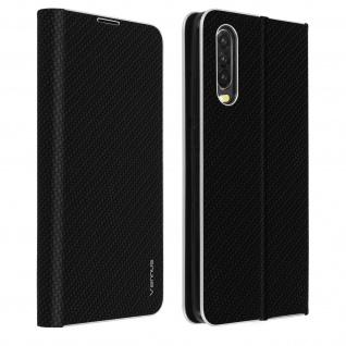 Huawei P30 Klappetui, Cover mit Carbon Design & Ständer - Schwarz