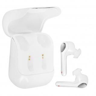 Weiße kabellose Bluetooth Kopfhörer mit Ladecase und Fingertip Taste